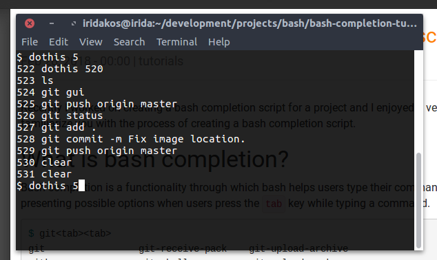 Creating a bash completion script