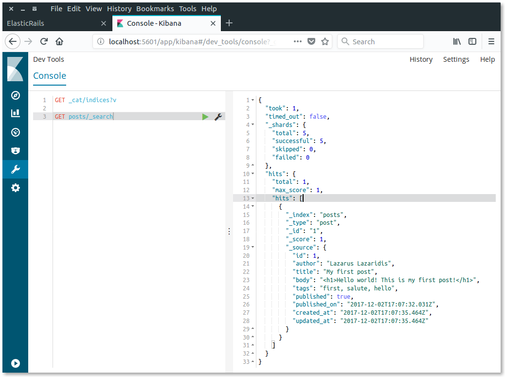 Kibana post search first result
