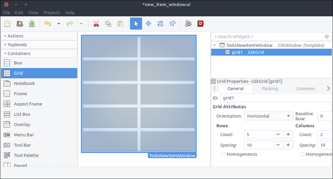 GTK+ Todo new item window with grid