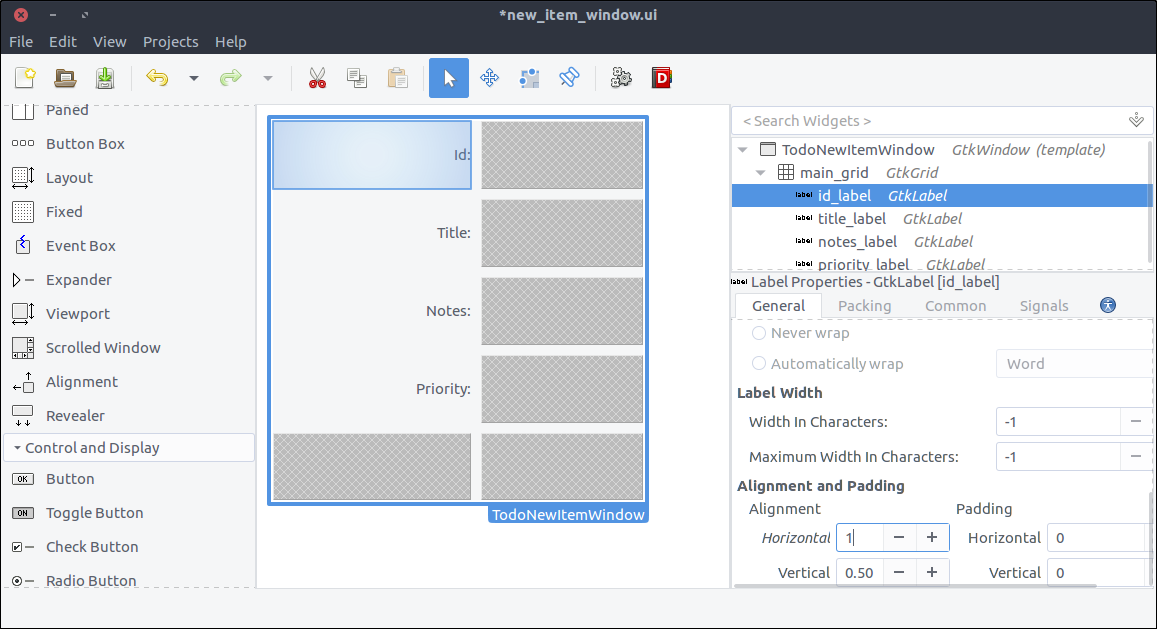 GTK+ Todo new item with grid and labels